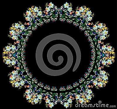 Light flower round on black background