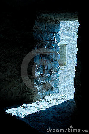 Light in fortress doorway