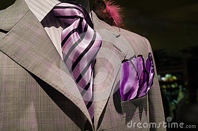 Light grey checkered jacket with purple tie