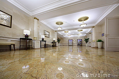 Light hall with pictures in Hotel Ukraine Editorial Stock Image