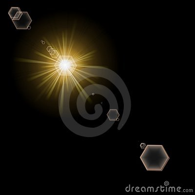 Light and lens flare on black