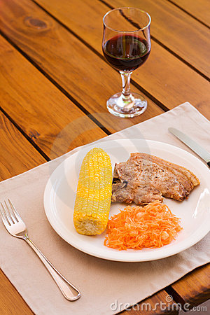 Light lunch served with red wine