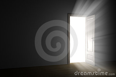 Light through an open door
