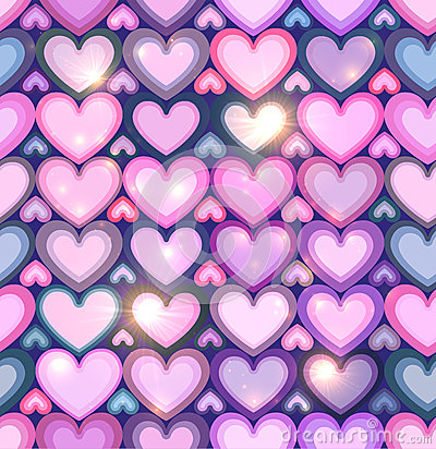 Light pink hearts shining seamless pattern