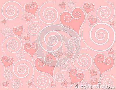 Light Pink Hearts Swirls Background