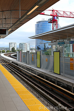 Light rail tracks & station in Richmond BC