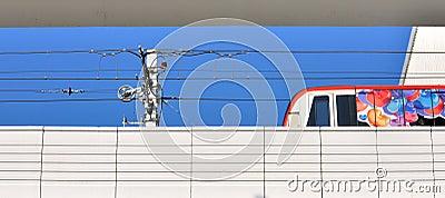 Light railway train on running