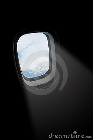 Light ray from aeroplane window