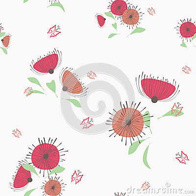 Light red and ocher flowers seamless pattern
