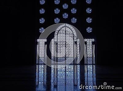 Light reflects thru stained glass windows