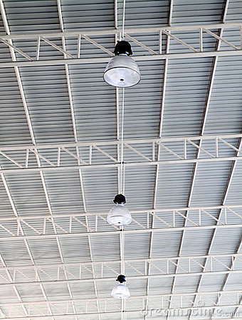 Light On Roof Of Modern Storehouse Stock Photo - Image: 18032020