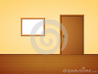 Room with door and frame