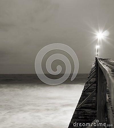 Light shining on pier