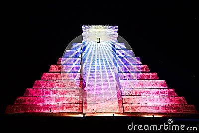 Light show on Chichen Itza, Mexico