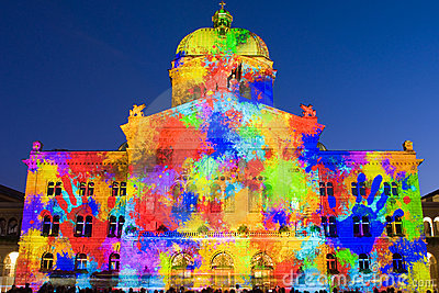 Light show on Swiss government building Editorial Photo