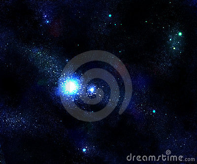 Light star and blue space galaxy