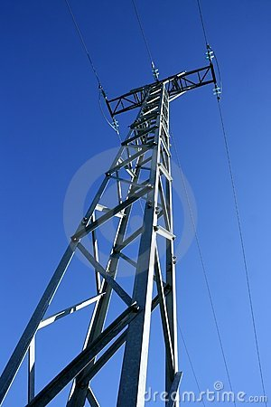 Light steel electricity tower pole blue sky