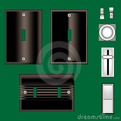 Light switches and faceplate in vector black