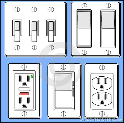 Light switches and plug-ins.