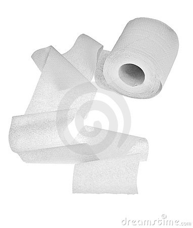 Light toilet paper isolated on white