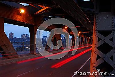 Light tracks of cars in bridge