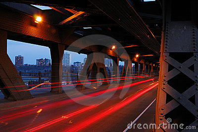 Light tracks of cars in bridge