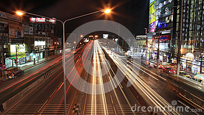 Light trails on the bridge and Ngamwongwan street Editorial Stock Photo