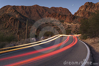 Light trails on a desert road