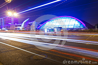 Light trails with the modern building