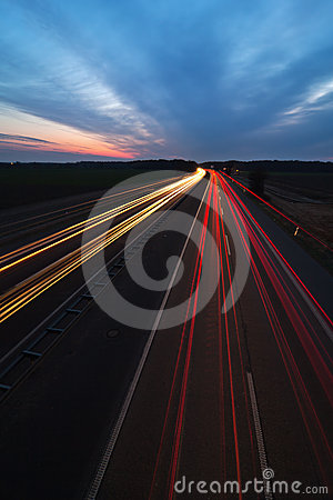 Light trails on the motorway