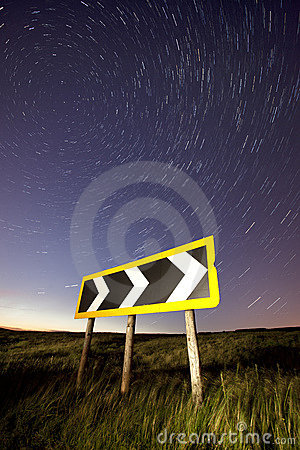 Light trails on a rural road, cat and fiddle