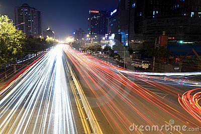 Light trails on rush hour traffic at night