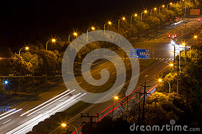 The light trails on the steet in shanghai Stock Photo