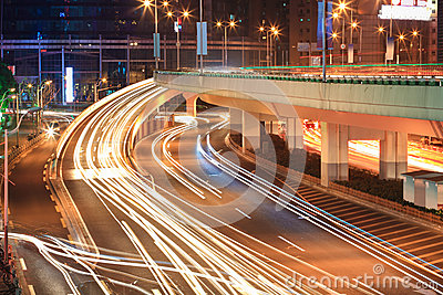 Light trails on the viaduct ramp