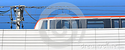 Light Train Running Under Blue Sky Royalty Free Stock Images - Image: 26701049