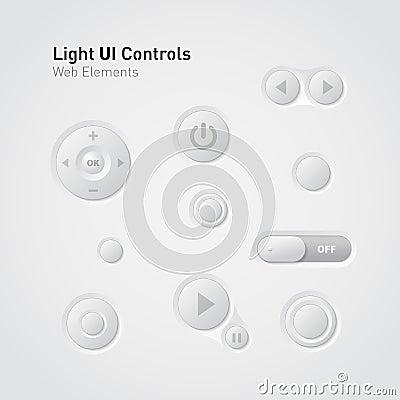 Free Light UI Controls Web Elements: Buttons, Switchers Stock Photos - 23844593