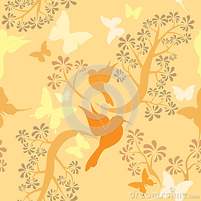 Light vanilla colors seamless pattern with humming