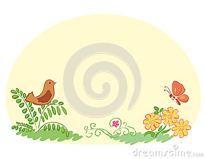 Light yellow background with flora and fauna