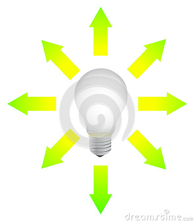 Lightbulb with arrows around illustration design
