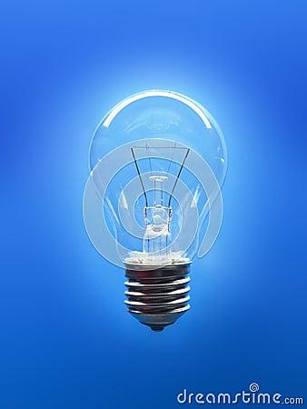 Lightbulb on blue background