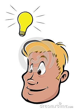 Cartoon Vector Illustration Of A Lightbulb Idea.