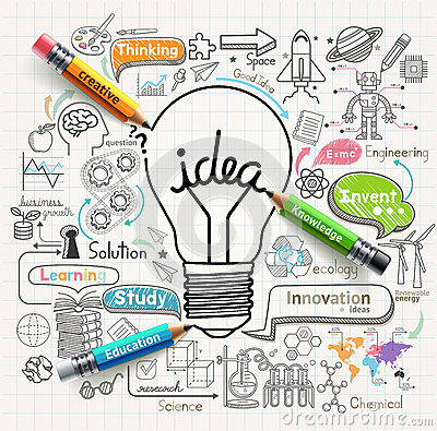 Lightbulb ideas concept doodles icons set. Vector Illustration
