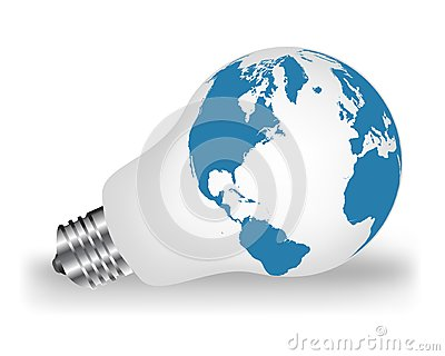 Lightbulb with map