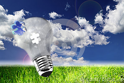 Lightbulb on nature view, the concept of ecology