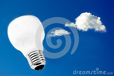 Lightbulb in the sky, metaphor for innovation