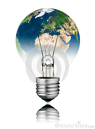 Lightbulb switched OFF - World Globe Europe and Africa