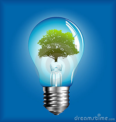 Lightbulb with tree inside