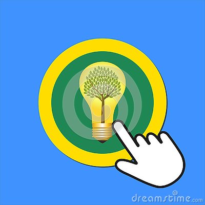 Lightbulb with tree inside icon. Eco energy concept. Hand Mouse Cursor Clicks the Button Vector Illustration