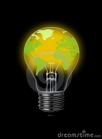 Lightbulb with world-map