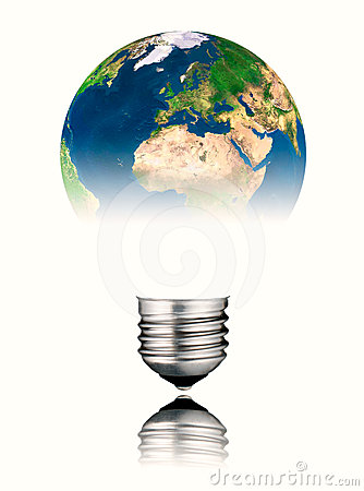 Lightbulb World Shape - Europe, Africa